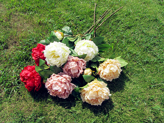 3 Heads Silk / Simulation / Artificial flower Peony flower for home wedding party decoration