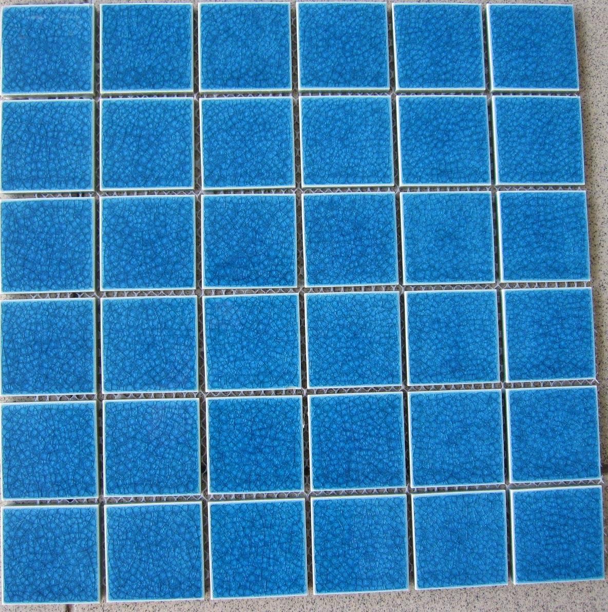 48X48MM Crackle Glazed Dark Blue Swimming pool tiles