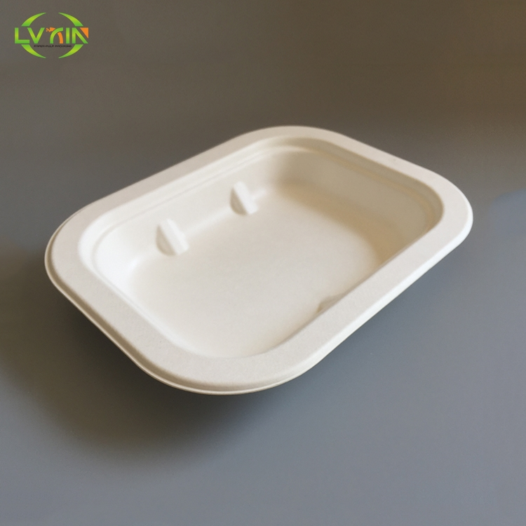 Professional wet pressing white biodegradable food serving trays,food safe tray,food packaging trays