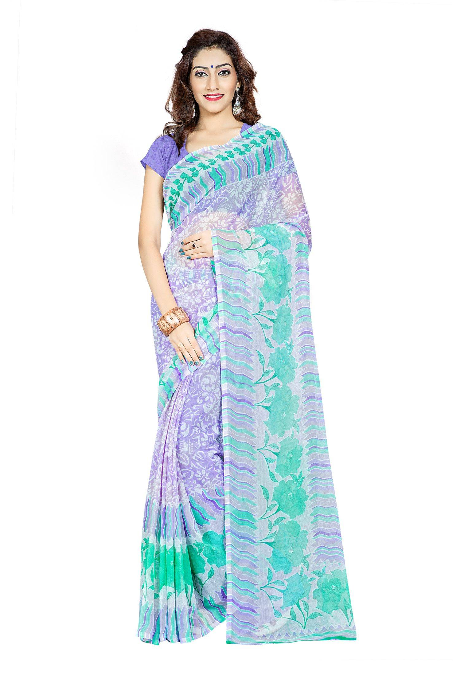Ambaji Casual Wear Multi Colored Printed Chiffon Saree/Sari