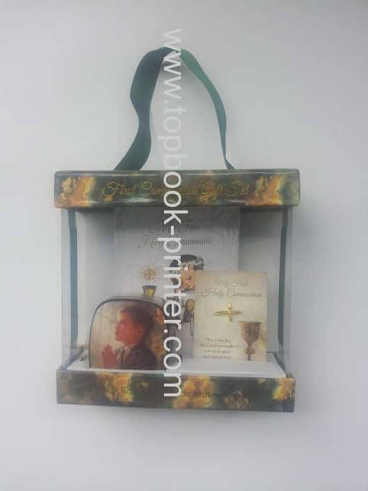 Print high-grade PVC paperboard prayer gift box with sponge hardboud diary metal box and silk ribbon