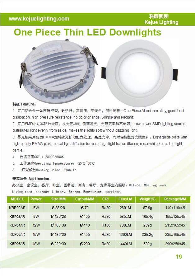 5W 9W 12W 15W 18W LED Panel Light Aluminum Die Casting Housing