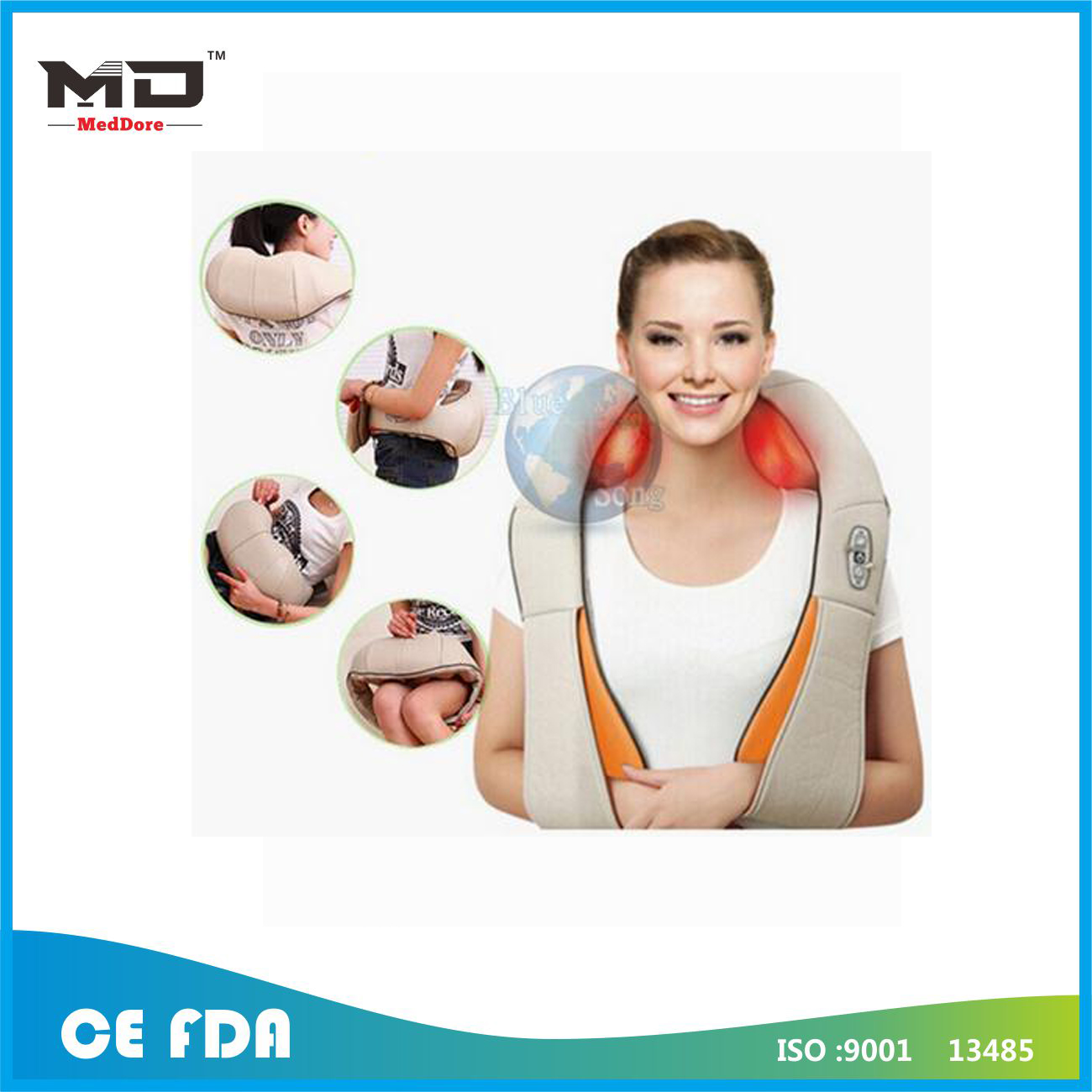 Meddore U Shape Electrical Shiatsu Back Neck Shoulder Massager EU plug and flat plug