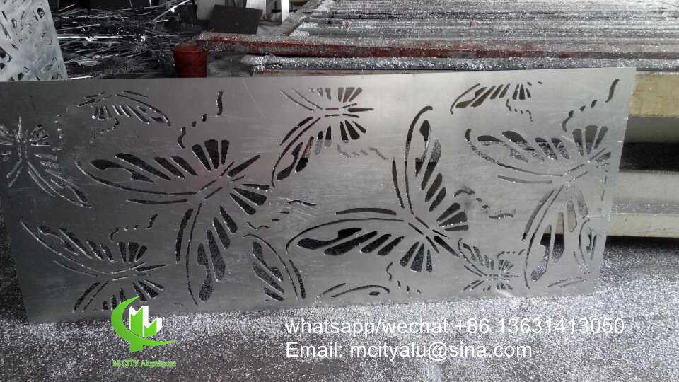 CNC Butterfly design aluminum metal screen panel