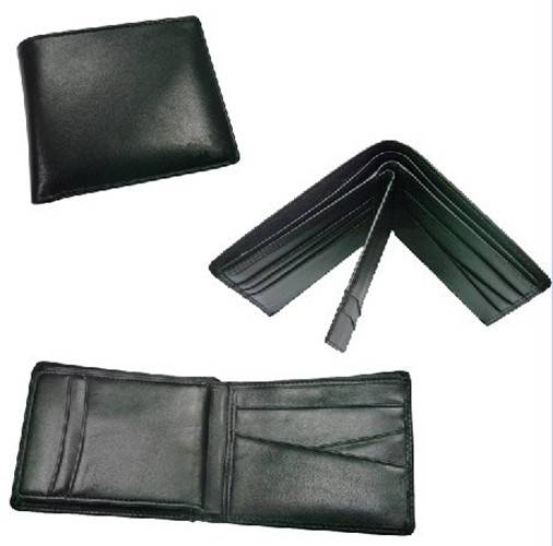 Black Bifolder Genuine Leather Men Purse Wallet