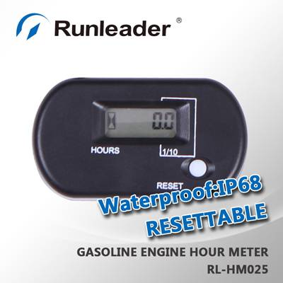 RL-HM025 Resettable LCD Inductive Motorcycle Hour Meter Used For Any Gasoline Engine Motocross ATV D
