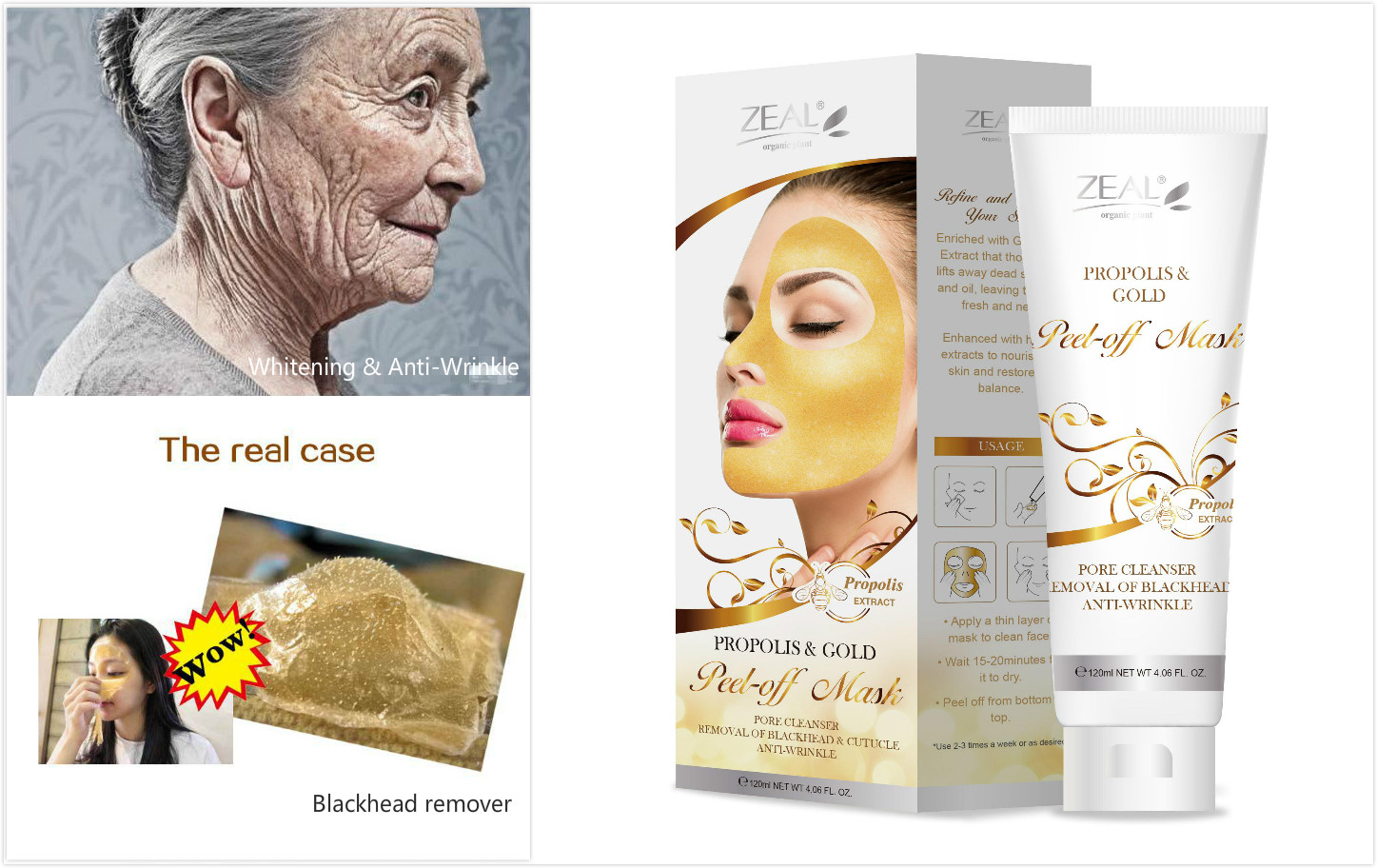 Zeal Anti Wrinkle Whitening Golden Mask Gold Collagen Peel off Facial Mask