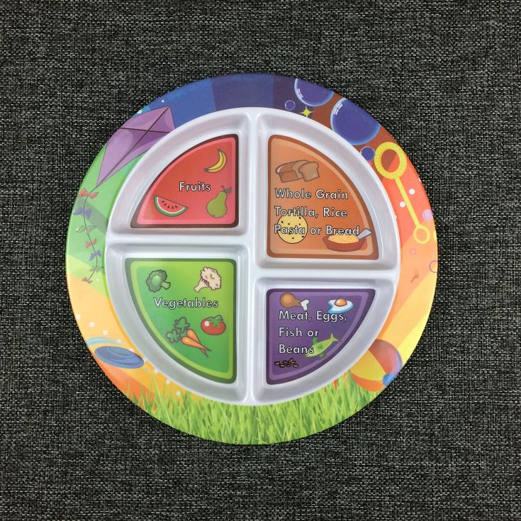 9 inch melamine compartments plate