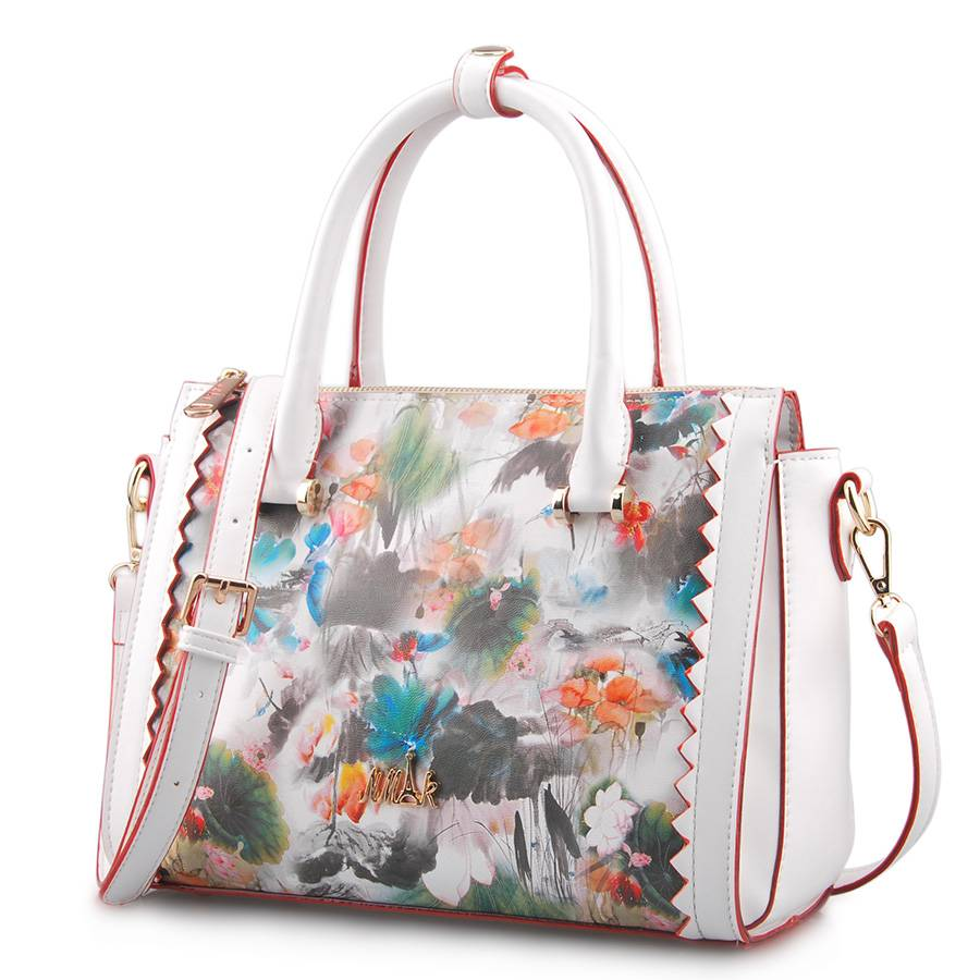 Fresh Style Printing Flower Leather Women Tote Handbag (LY05043)