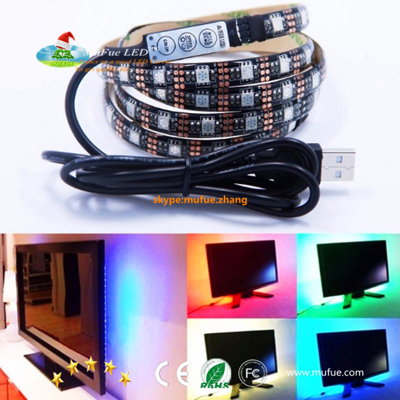 5V RGB 5050 LED Strip Light With Mini Controller USB Cable By Mufue