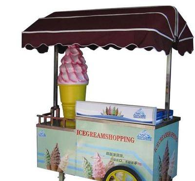 Rechargeable hand push type ice cream cart