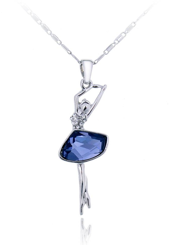 Dancing Girl Pendant Necklace with Austrian Crystal