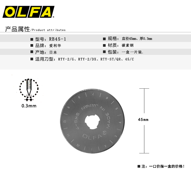 Hot selling 2018 roller blade/rotary cutter blade 45mm