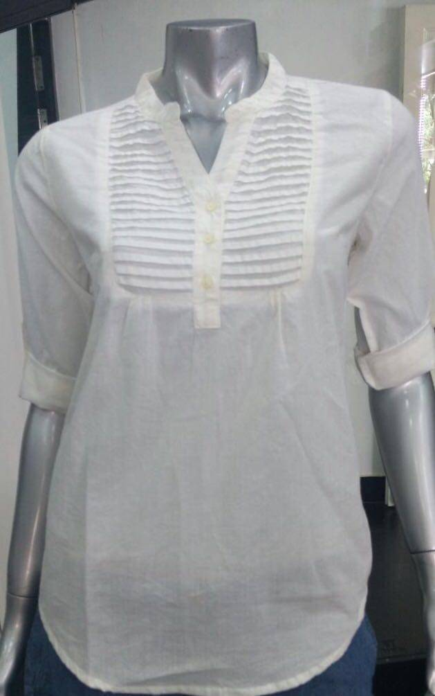 Ladies Button down Shirts with pintuck on chest and fold up sleeve