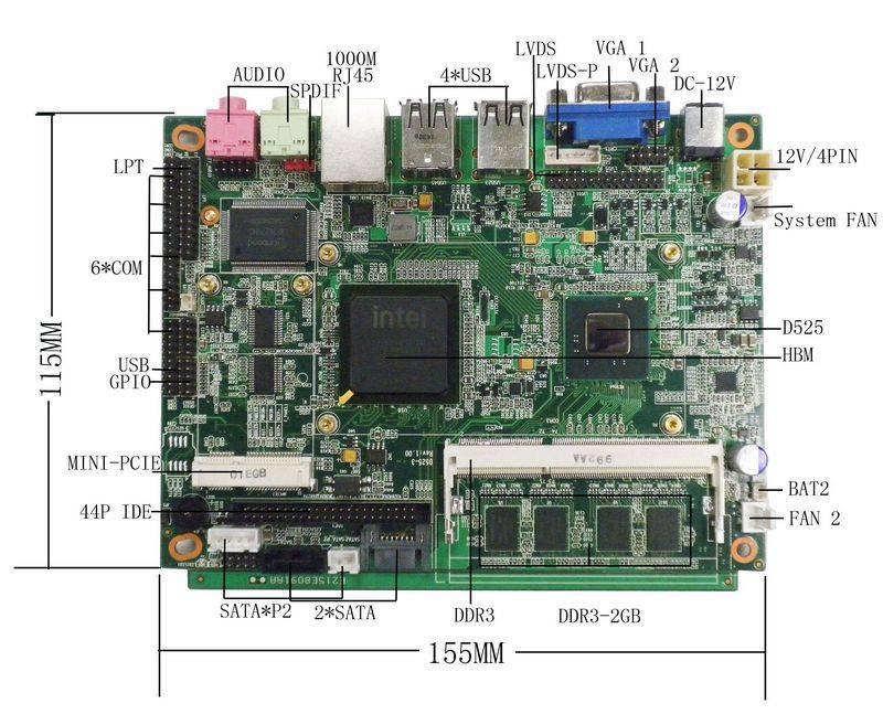 Fanless Atom Motherboard industrial N550 Processor Motherboard