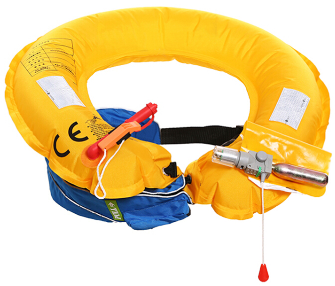 Waist belt inflatable life jacket
