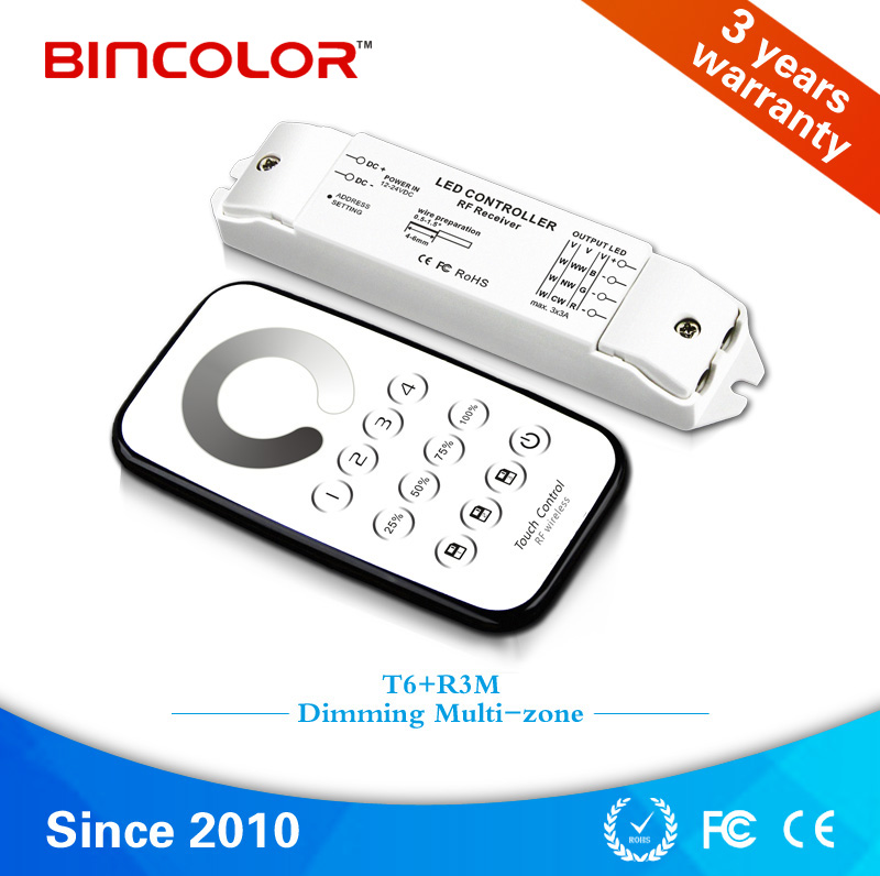 T6+R3M Bincolor Multi-zone control constant voltage led light controller led dimmer