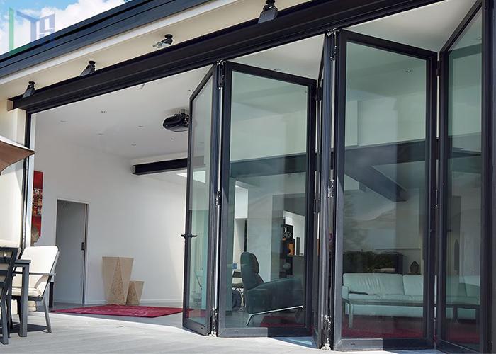 interior bifold doors sliding glass folding door tempered glass bi-fold door