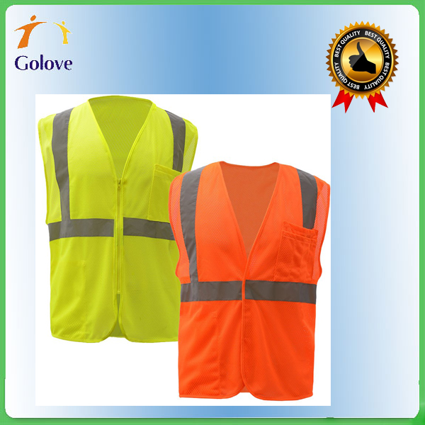 high quality professional 100% polyester reflective green safety vest