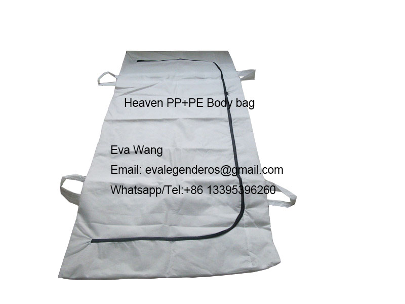 Nonwoven PP+PE Adult American Medical Body Bag with 4 handles