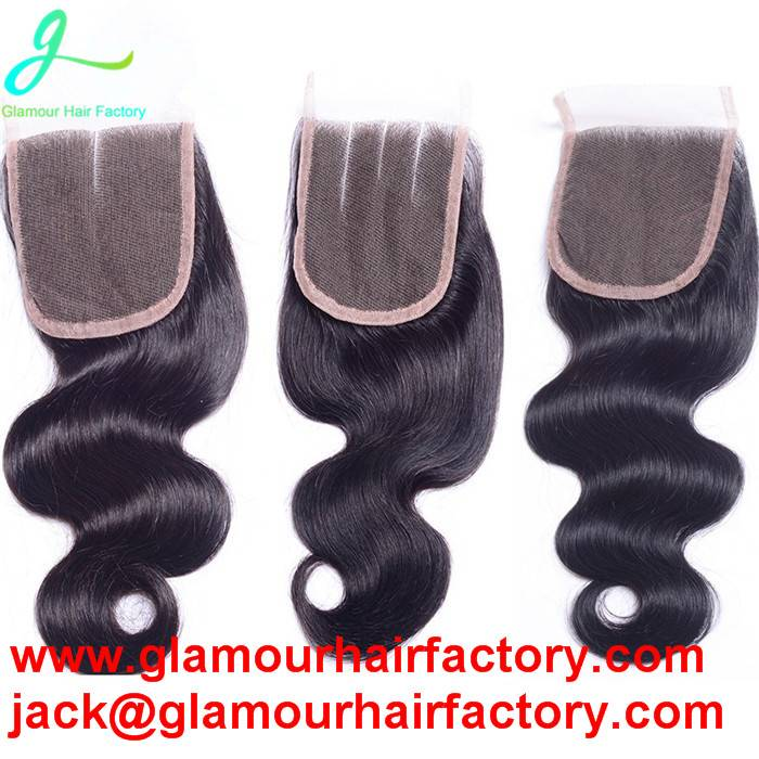 Brazilian Body Wave Virgin Human Hair Free Middle 3 Side Part Closure Bleached Knots Lace Closures