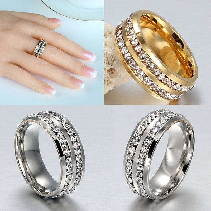 Sz7-11 Unisex CZ Stainless Steel Ring Men/Women's Wedding Band Black/Silver/Gold