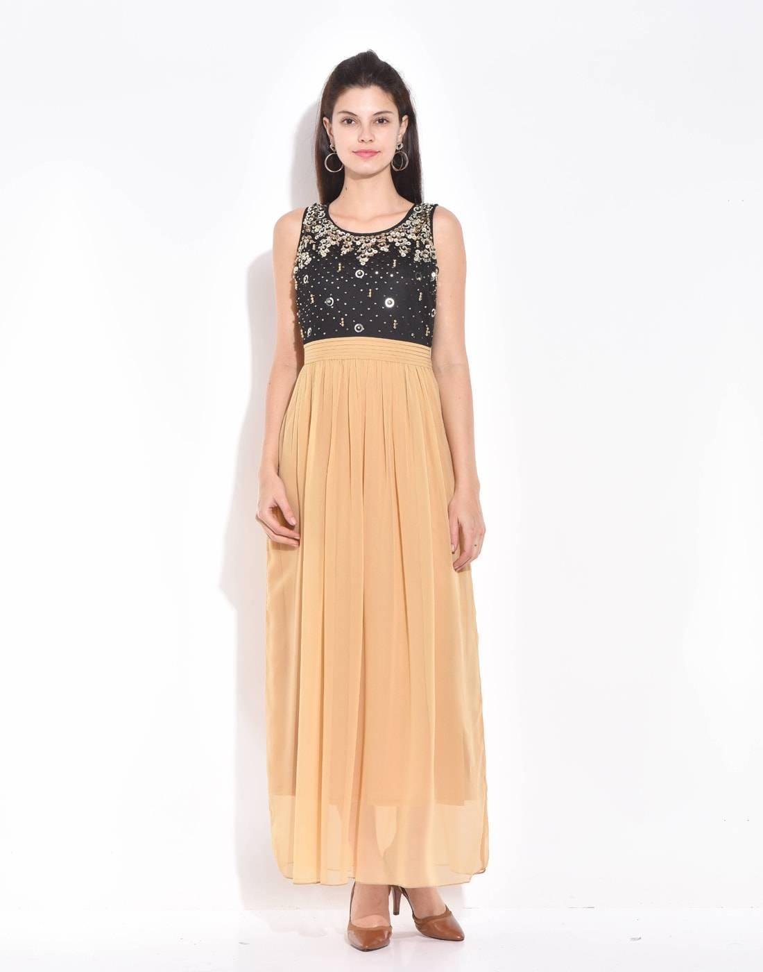 Beige-Black Maxi Beaded and Sequined Dress - West by East