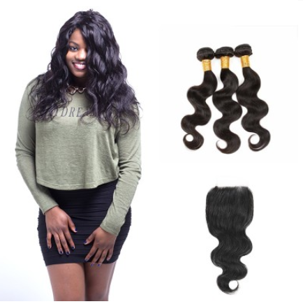 [8A]3 Bundles Malaysian Body Wave Hair Weave With Lace Closure