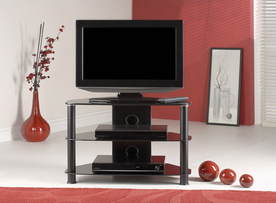 Classic Black Metal/Black Glass TV Stand