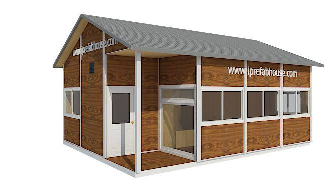 cute single layer fashionable panelized steel frame cabin,39.75 sq.m.