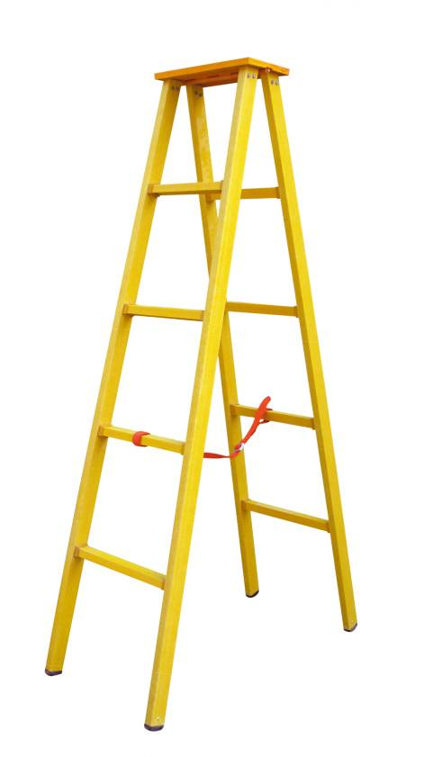 safety movable fiberglass single side step ladder