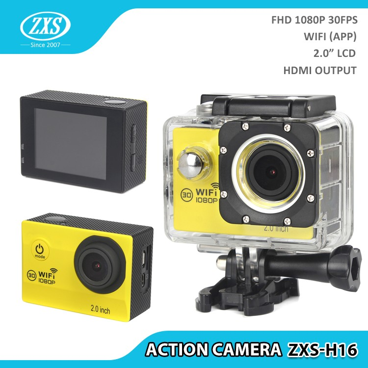 """FHD 1080P WiFi Support 2.0"""" HD LCD Screen 170 Degrees Wide Angle 30M Waterproof Action Camera"""