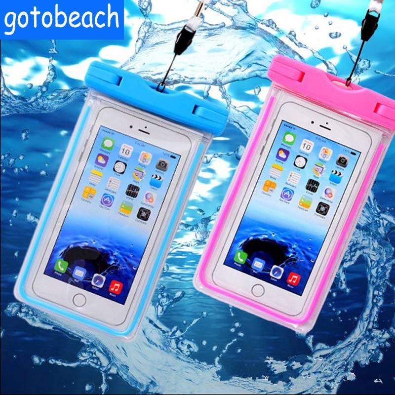 Luminous waterproof mobile phone bag universal 6 inch swimming diving bag for mobile phone
