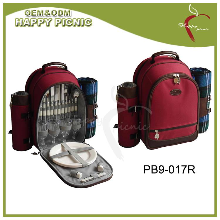 Happy Picnic Red Color 600D+210D Finished Picnic Bag for Girls