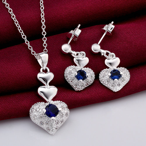 Blue Rhineston in Heart Necklace and Earring Set CS772