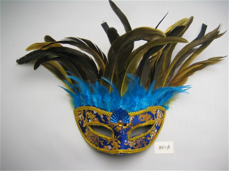 Halloween Venetian Masquerade Half Face Golden Pattern Mask With Feather