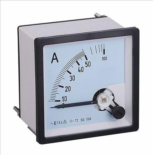 Square panel meter Analog display Moving iron type AC Ammeter 72*72mm