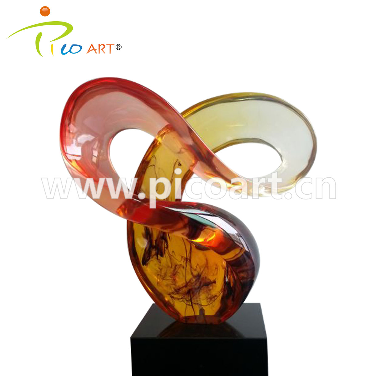 Light Red Clear Epoxy Casting Resin Contemporary Art Sculpture