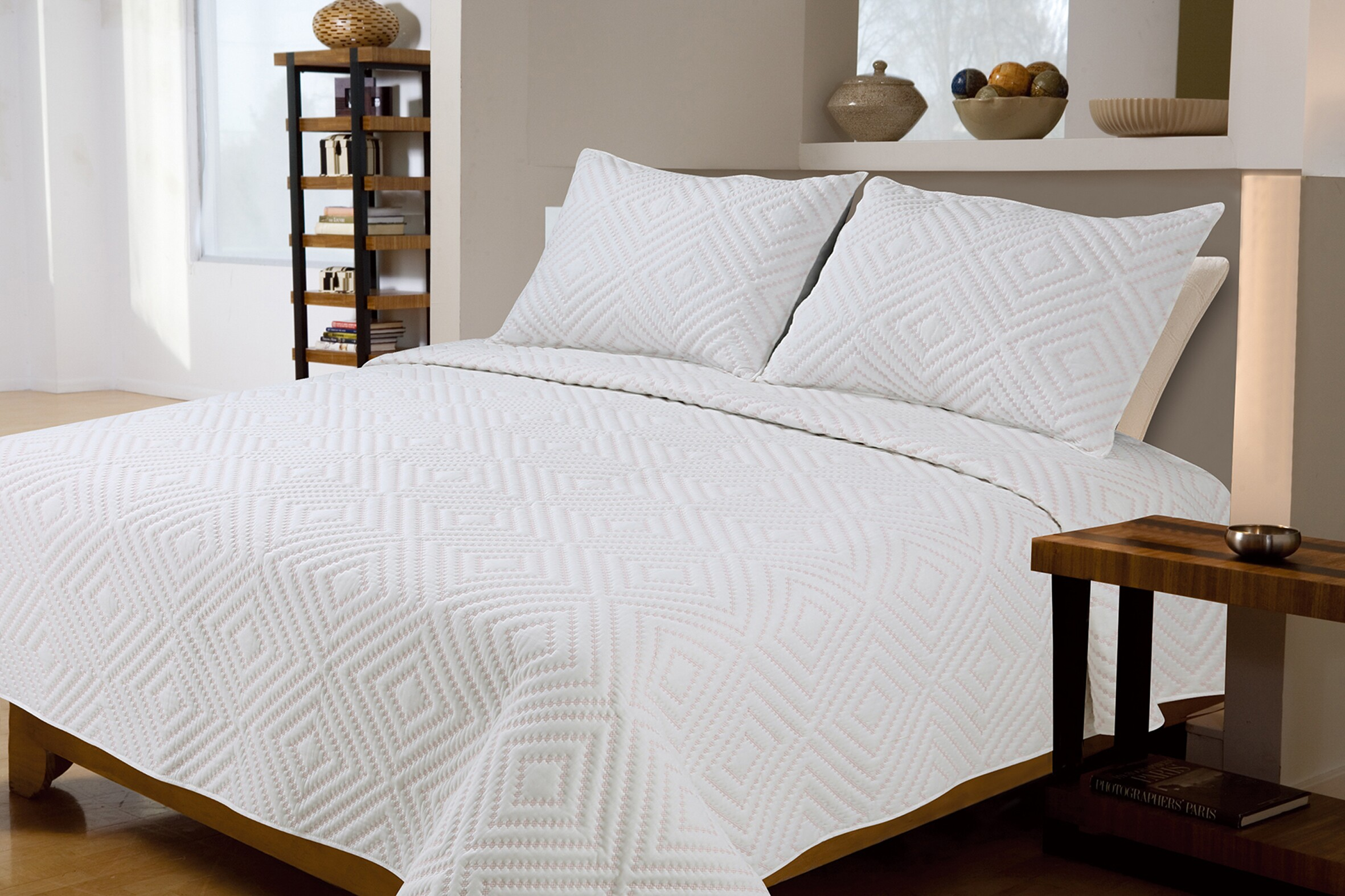 white embroidery cotton quilt
