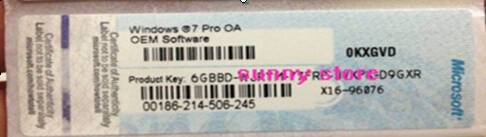 Win7 Pro Key card X16 coa labels oem coa stickers