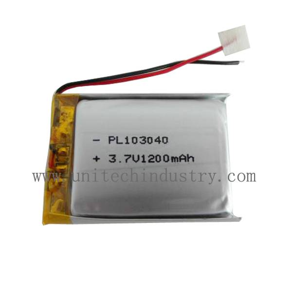 UN38.3 CE approved Li-polymer battery pack 103040 3.7V 1200mAh