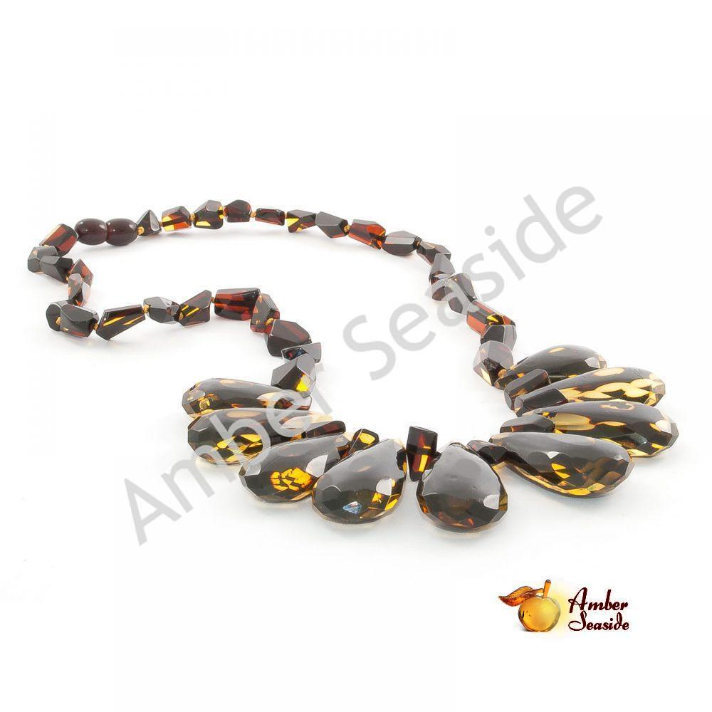 """Amber Necklace """"Faceted Green Raindrops"""""""
