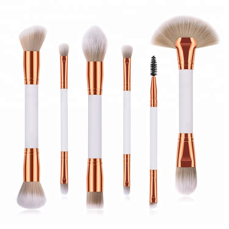 6PCS Double End Makeup Brush Set with Two Color Synthetic Hair