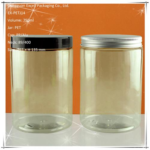 750ml Tall PET Jar with Sensitive Sealable Lid