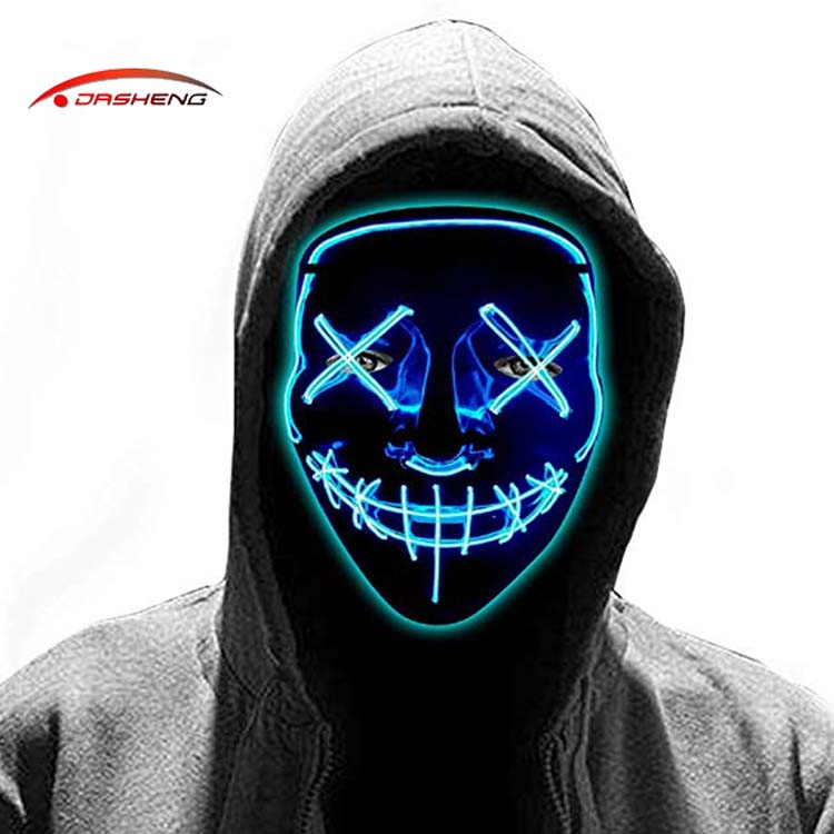 Carnival Dj Cosplay Scary Rave Horror Glow Neon Light Up Flashing Led El Wire Halloween Party Mask