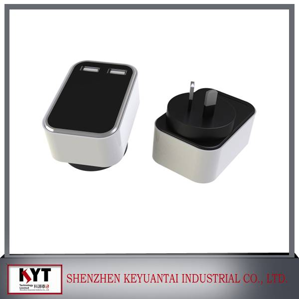 5V3A-3.1A dual USB with smart IC wall chargers for mobile phone with CE FCC ROHS certificate