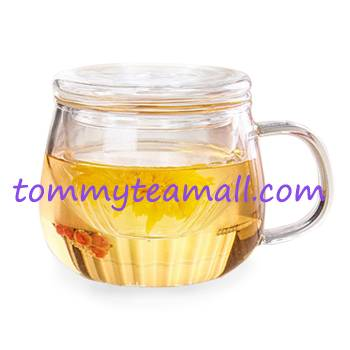 Borosilicate glass tea pot with strainer for blooming tea