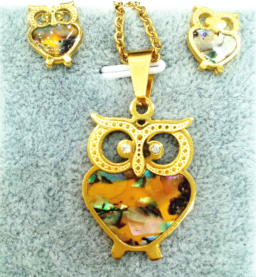 Stainless steel jewelry for women necklace with name Colorful Enamel Owl Pendant earring set