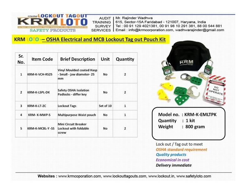 OSHA ELECTRICAL AND MCB LOCKOUT TAGOUT POUCH KIT