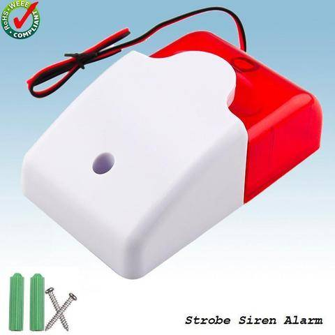 12V Wired Sound Alarm Strobe Flashing Light Siren Home Security System